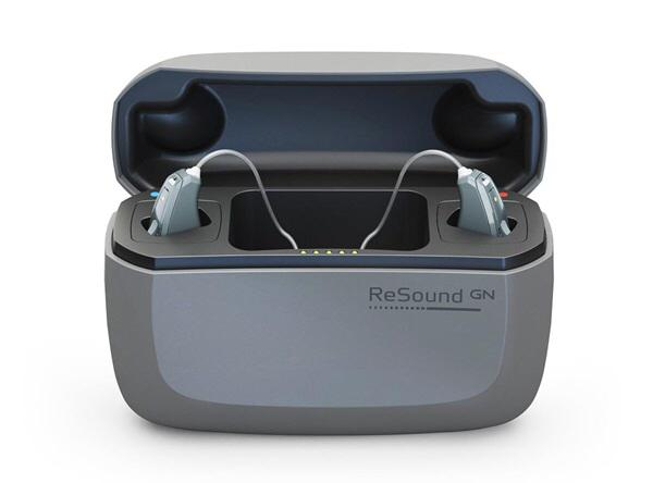 Resound Quattro hearing aids in charger